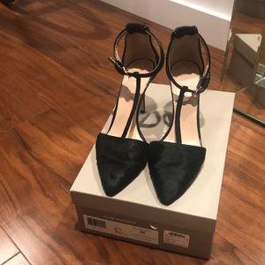 Club Monaco faux calfhair t strap heels